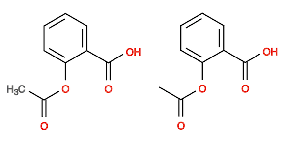 Aspirin Molecule without and with Carbon Symbols
