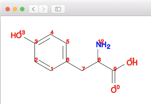 Open Babel SVG Picture - Tyrosine Molecule with Indeces