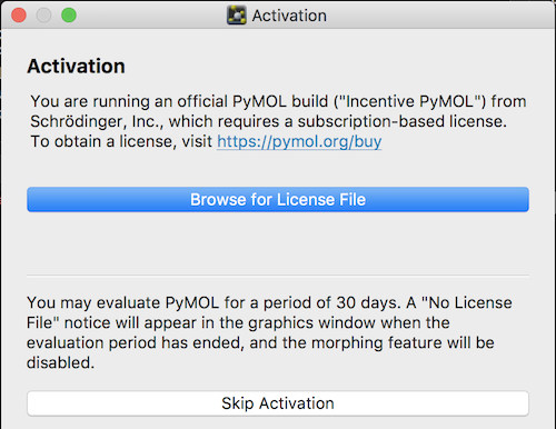 PyMol License Activation Screen